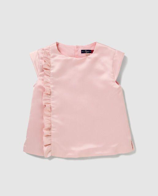 731388789 Blusa de niña Tizzas en raso rosa | ropa ilanna | Blusas, Blusas ...