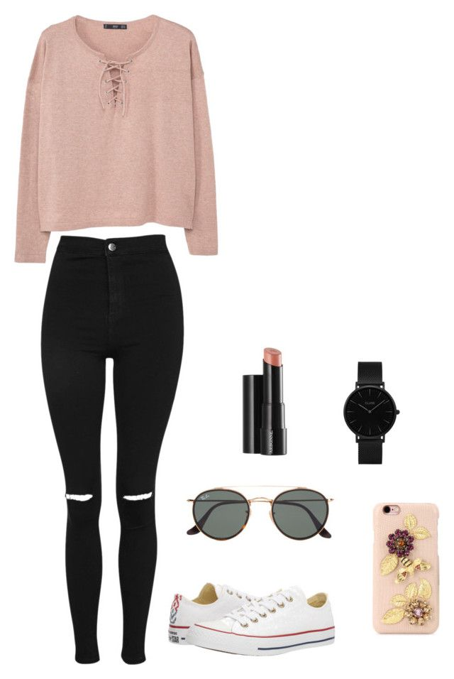 """Untitled #128"" by britney-pitts ❤ liked on Polyvore featuring Topshop, MANGO, Ray-Ban, CLUSE, Converse, Dolce&Gabbana and Arbonne"