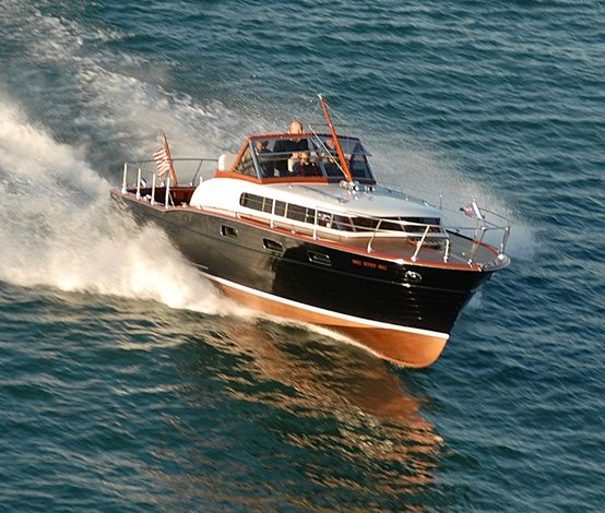 1957 35'-45' Chris Craft Cabin Cruiser/Commander - Purchase and Remodel Budget $65,000 - (Corsair Inspired: Dark Blue, with Red Stripe, Alpine White Base, Sun Bleached Teak with Grey Caulk - replace interior carpet with Flexiteak in Teak Color, Linen/Almond Fabrics/Leather with Cocoa-Navy-Grey Accents, redesign interior modern-minimalist, New Engine)