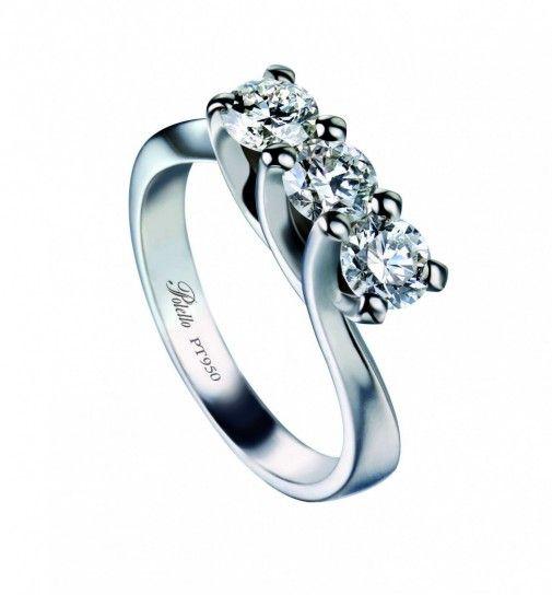 Fedi nuziali in platino  - Fede nuziale platino Polello diamanti