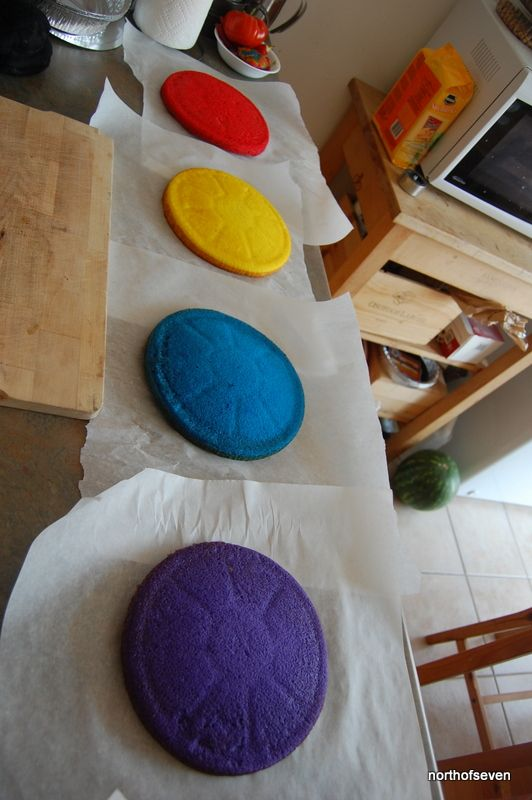 Rainbow cake tutorial... I will never attempt to make this, but her description of the process is hysterical.