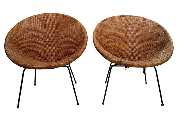 One Kings Lane - Mid-Century Modern Wicker Chairs, Pair