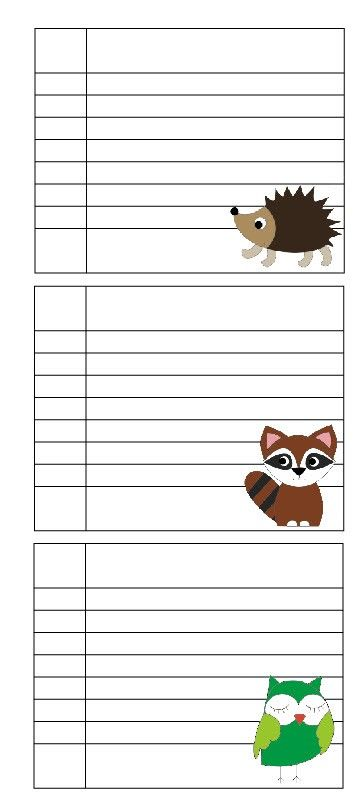 Free mini notebook pages Owl hedgehog fox