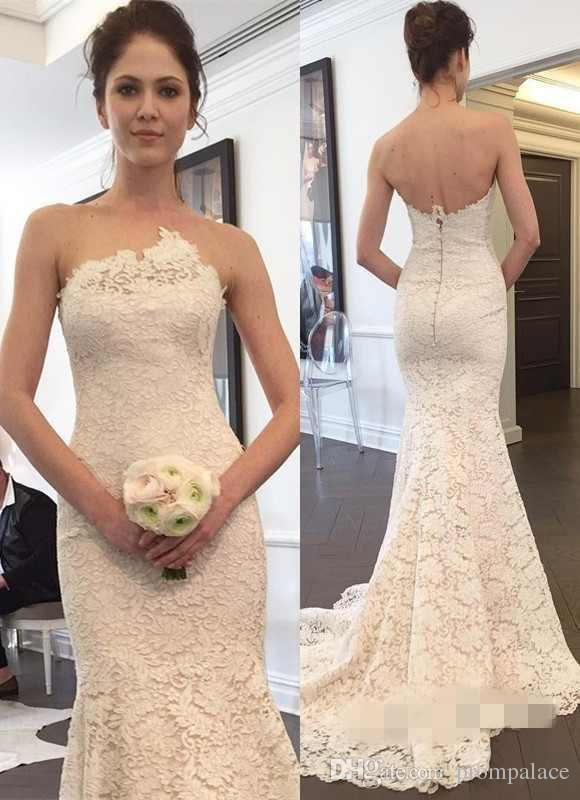 3221c04bd Buy wholesale latest lace mermaid wedding dresses with modest appliques  zipper back bridal wedding gowns custom made in china which is at a discount  now. ...