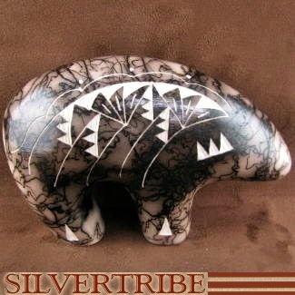 Horse Hair Pots - Native American Fetish Bear Pottery by Navajo Artist Tom Vail