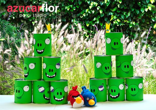 Angry Birds game angrybirds party game birthday kids green tin cans