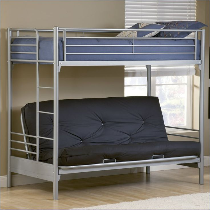 Hillsdale Universal Youth Twin Over Futon Bunk Bed In Silver Finish
