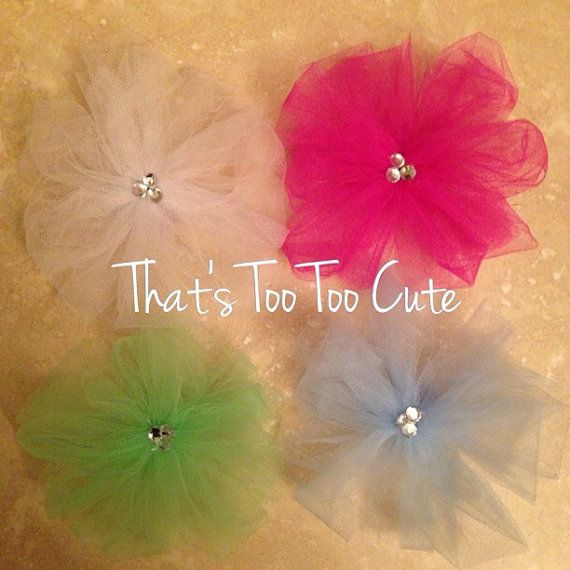 Elegant tulle bow with embellishment! {Idea for hair bows for baby}