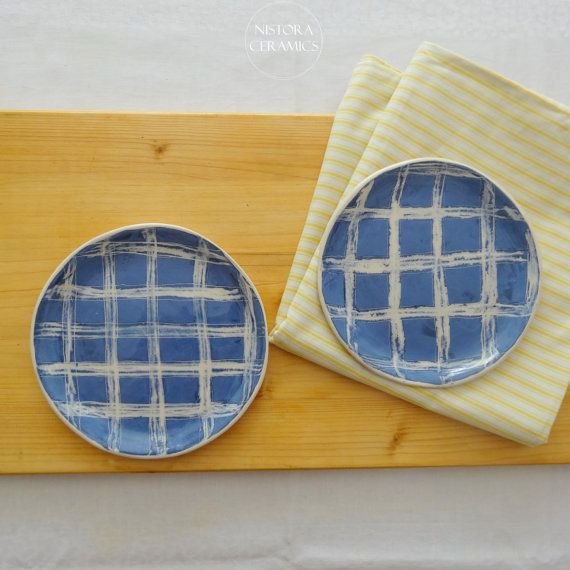 Nistora Ceramics / Gingham blue and white handmade ceramic plates