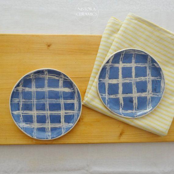 Nistora Ceramics / Gingham blue and white handmade ceramic plates