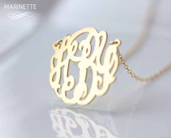 Monogram necklace   1 inch Personalized by MarinetteJewelry, $59.00