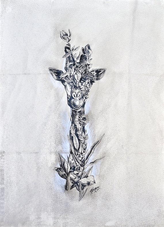 ORIGINAL ARTWORK  Giraffe by mariniferlazzo on Etsy, $150.00