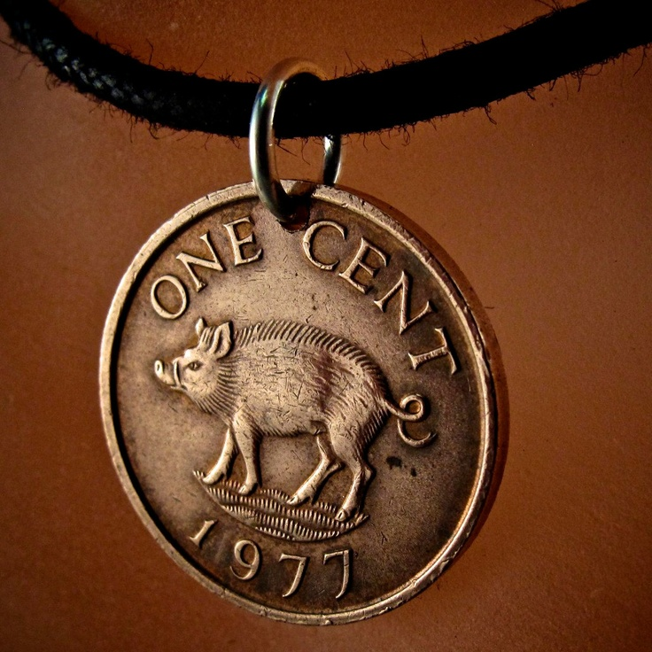 yay Piggy :D  PIG COIN Bermuda  coin necklace.  jewelry. piglet. lucky pig. go. sow. babe. oink 1975  No.001114