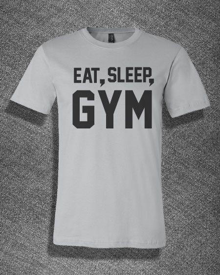 Trendy Pop Culture Eat Sleep Gym Workout yoga bodybuild ufc bellator Tshirt Tee T-Shirt Ladies Youth Adult Unisex