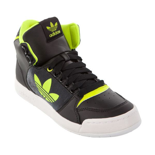 adidas Originals Midiru Court 2.0 in Neon Yellow (250 BRL) ❤ liked on Polyvore featuring shoes, hi-tops, synthetic shoes, laced up shoes, hi tops, adidas originals shoes and fluorescent shoes