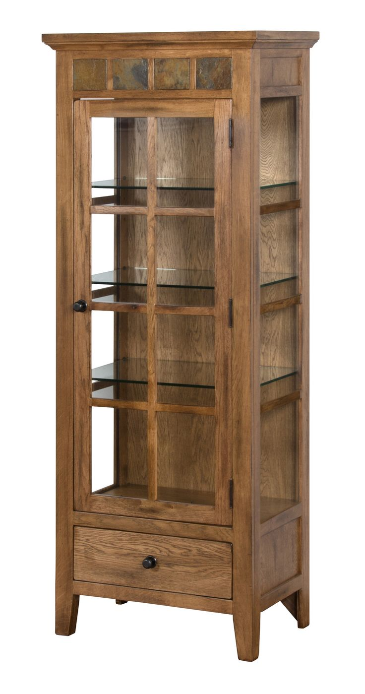 Features: -Natural slate. -Utility drawer with full extension slides. -Adjustable glass shelves. -Glass curio side panels. -Midvale collection. Style: -Traditional/Rustic. Product Type: -Curio