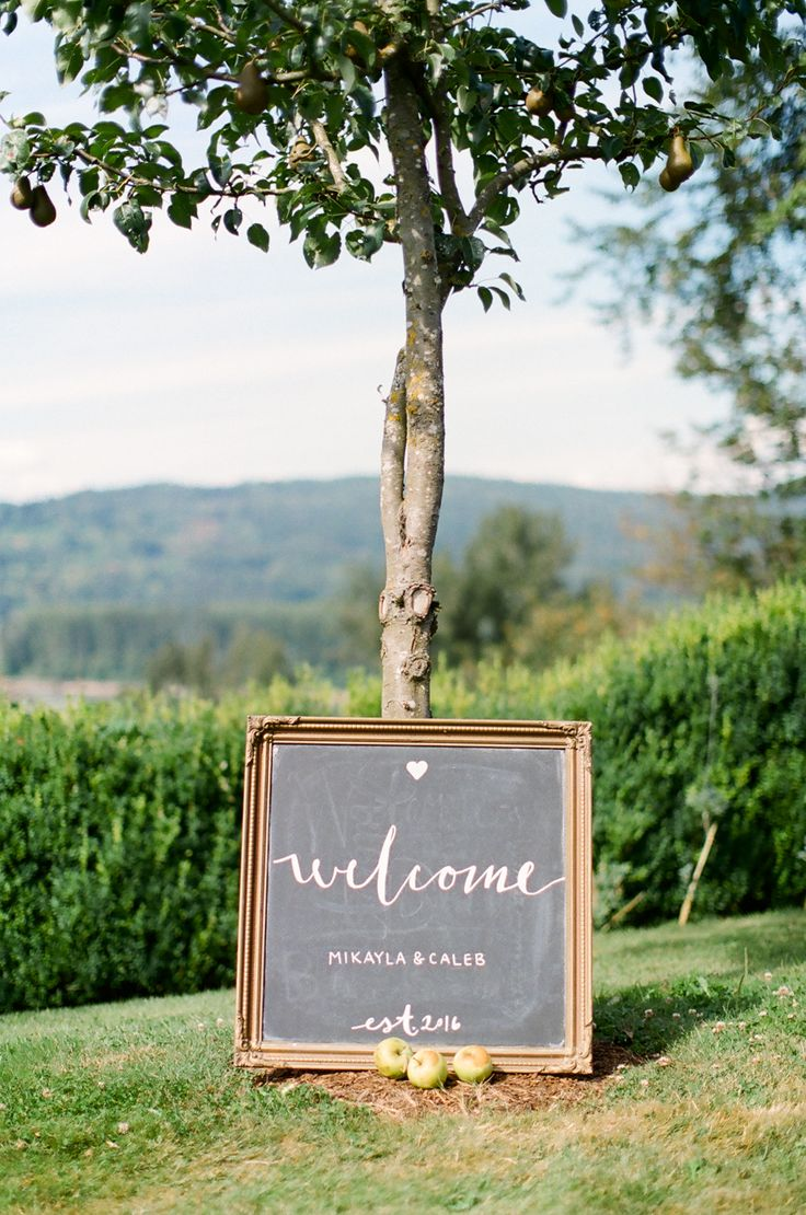 Welcome Apple Tree Wedding Sign, Abbotsford Fine Art Film Wedding Photographers #Fuji400H #AbbotsfordFilmWeddingPhotographers