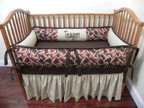 Football Baby Bedding - Baby Boy Crib Bedding Set, Sports Crib Bedding by BabyBeddingbyJBD on Etsy https://www.etsy.com/listing/124739432/football-baby-bedding-baby-boy-crib