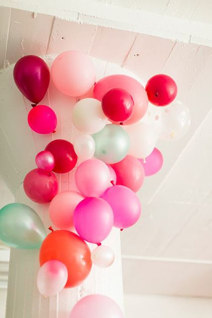 Huge multicolor balloons for a party. So fun!