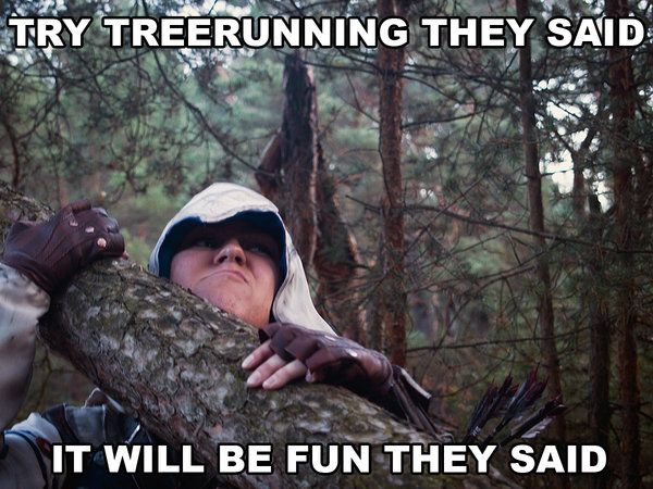 Preach it! Tree running... the worst. Hilariously awesome Connor cosplay from Assassin's Creed. - 10 Connor Cosplays