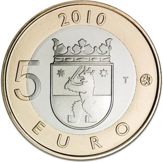 In 2010 and 2011, Finland released commemorative 5-euro coins featuring the coats of arms for Finland's 9 historical provinces.  This coin features the emblem for Satakunta.
