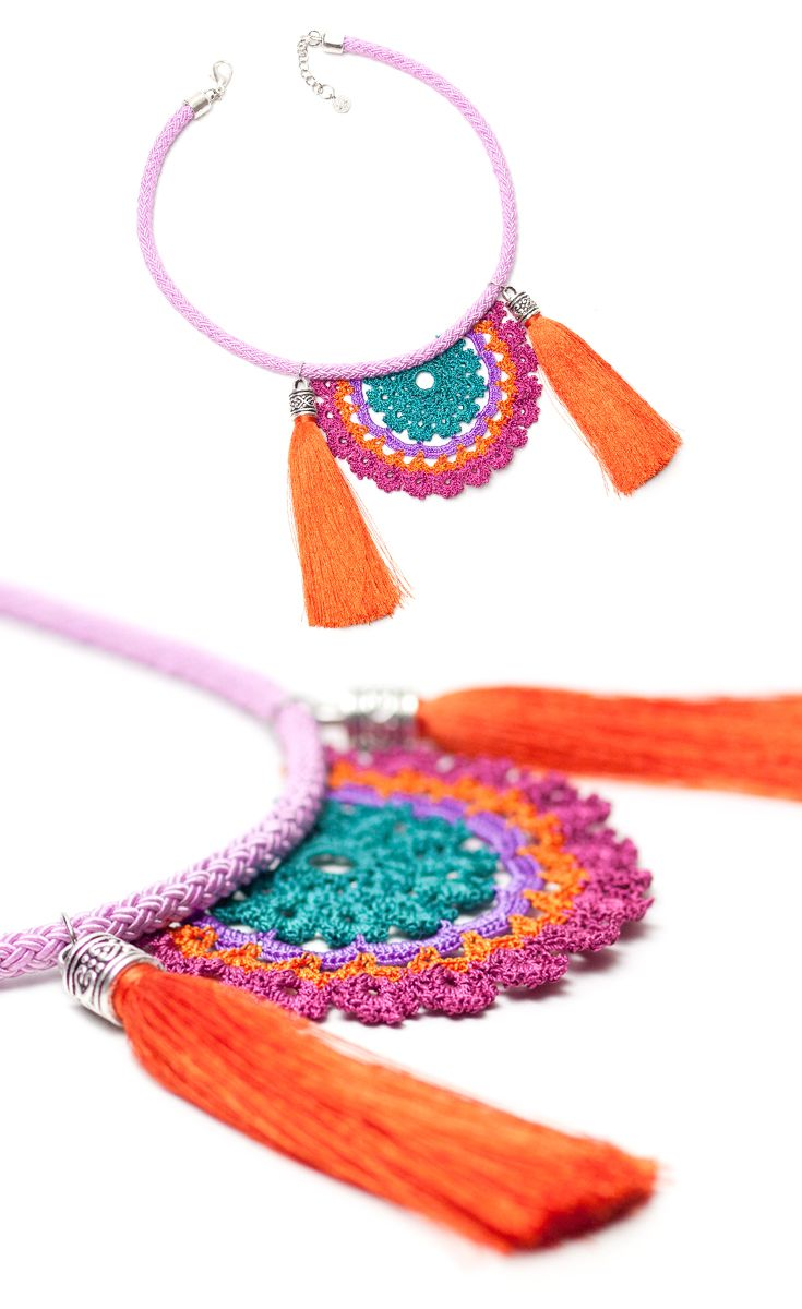 Bohemian Handmade Crochet Tassel Necklace,Tribal Ethnic Fringe Statement Jewelry