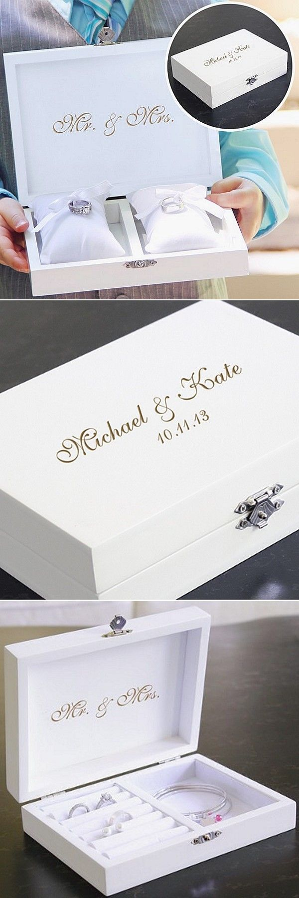 Looking for a unique alternative to using a ring pillow to present your rings during the wedding ceremony? Consider a wedding ring box personalized with the bride and groom's first name and wedding date. After the wedding the ring box becomes a lasting souvenir and a useful ring and jewelry box to use every day. This ring box can be ordered at http://myweddingreceptionideas.com/personalized-ring-bearer-pillow-keepsake-box.asp