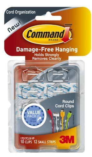 Command Round Cord Clips, Clear, 10-Clip by Command. $8.38. Amazon.com                  3M Adhesive Technology Command products offer simple, damage-free hanging solutions for many projects in your home and office. Simplify decorating, organizing, and celebrating with an array of general and decorative hooks, picture and frame hangers, organization products, and more. Thanks to the innovative Command adhesive strips, you can mount and remount your Command products with...