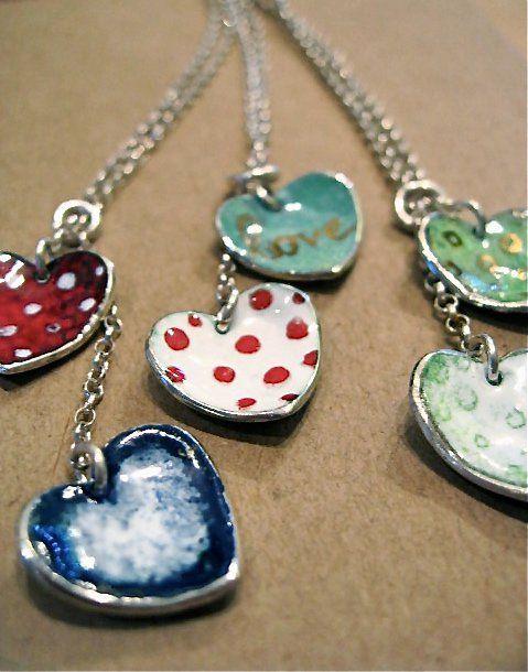 Silver and Enamel heart jewellery ❤