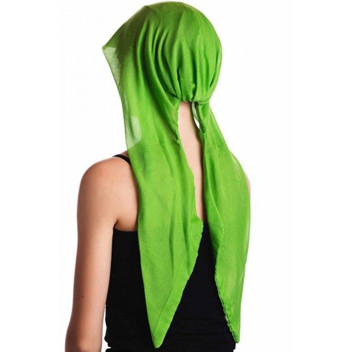 Organic Easy Tie Head Scarf - Apple Green - English