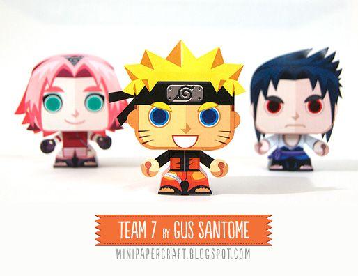 Mini Papercraft: Naruto and the team 7