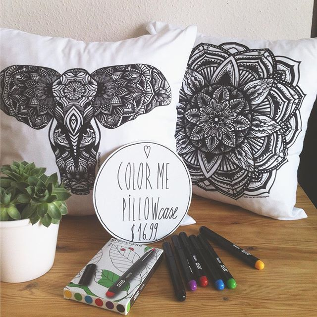 $ 16.99 'Color Me' pillows available in my Etsy Shop. See link in bio. #colormepillows #pillow #elephant #bw #coloringpillow #coloring #relax #homedecor #homedesign #homewares #cushion #pillowcase #pillowcover #pillows #bohostyle #decorativepillow #textilemarkers #throwpillows #etsy #etsyshop #giftideas #interiordesign #mandala #forkids #boho #hippie #design #handmade #decoration #christmas