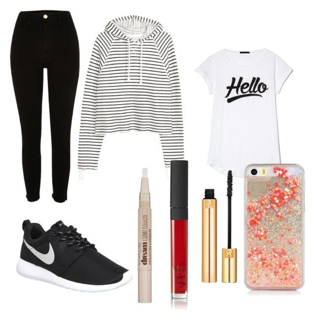 """cait"" by caoimheod on Polyvore featuring River Island, NIKE, Maybelline, Yves Saint Laurent and NARS Cosmetics"