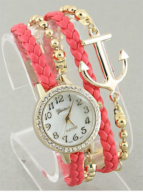Coral Anchor Bracelet Watch from P.S. I Love You More Boutique. shop online at: psiloveyoumore.storenvy.com