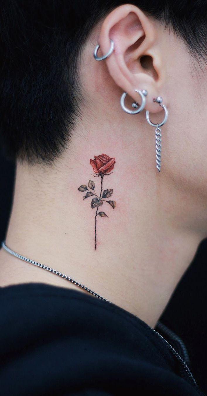 Minimalist Rose Tattoo On Neck C Tattoo Artist Studiobysol Donghwa Tattoosonne Neck Tattoo For Guys Rose Tattoos For Men Small Neck Tattoos