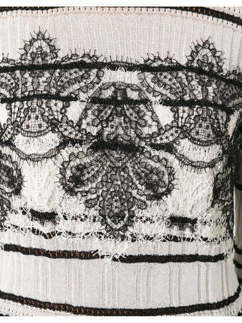 Shop Ermanno Scervino lace insert knitted top.