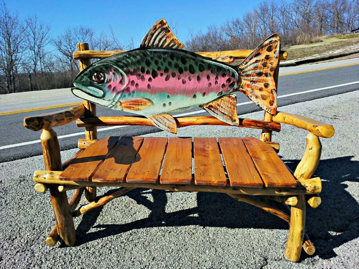 Fish Bench, Rustic Furniture, Cabin, Lodge, Rainbow Trout, Fly Fishing.