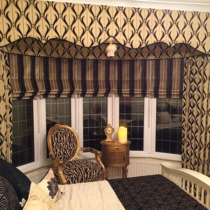 how to make a curtain pelmet for a bay window