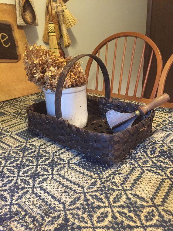 Extreme Primitive Painted Basket Gathering by 1803ohiofarmbaskets
