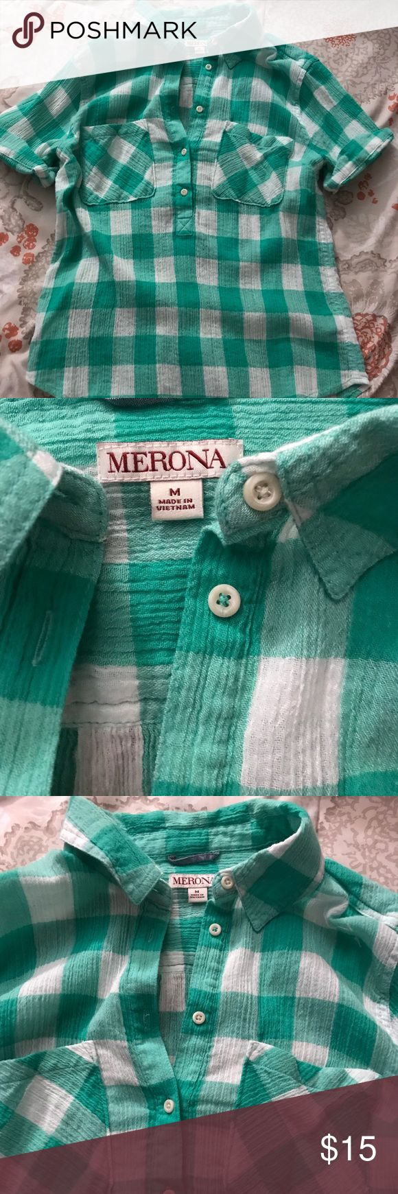 Merona Plaid Turquoise Shirt Good condition. Worn & washed once. Fits true to size. No rips, tears or stains. Smoke & pet free home. Merona Tops Button Down Shirts
