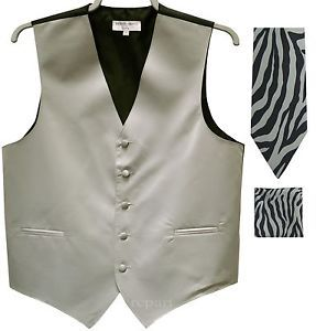 New Men's Formal Vest Tuxedo Waistcoat & silver zebra Necktie & Hankie XS to 6XL