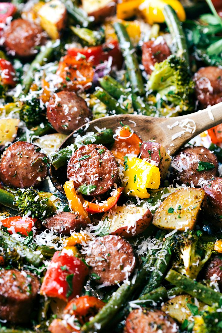 Roasted veggies with sausage and herbs all made and cooked on one pan. 10 minutes prep, easy clean-up! chelseasmessyapron.com