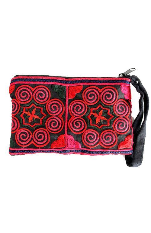 A cute little bohemian red coin purse wristlet handmade in Thailand. #offbeatcuts #offbeatboutique