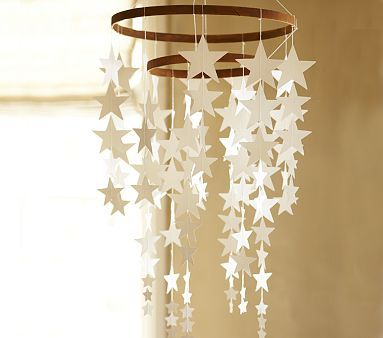 Hanging Star Decor --this would be cool if done with glow in the dark stars. As long as they are secured not to fall off.