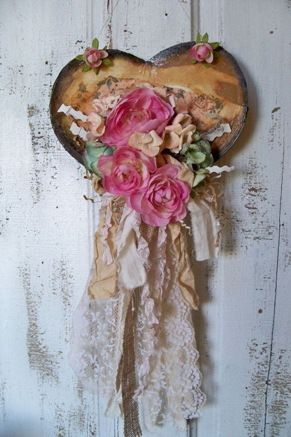 Shabby chic wall hanging heart decor by AnitaSperoDesign on Etsy, $40.00
