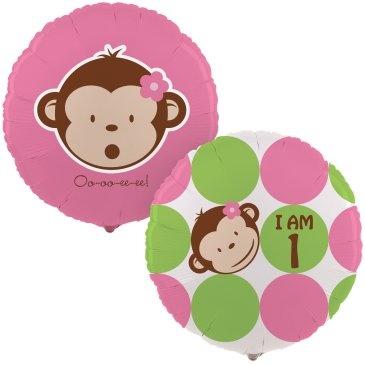 Mod Monkey Girl 1st birthday balloon
