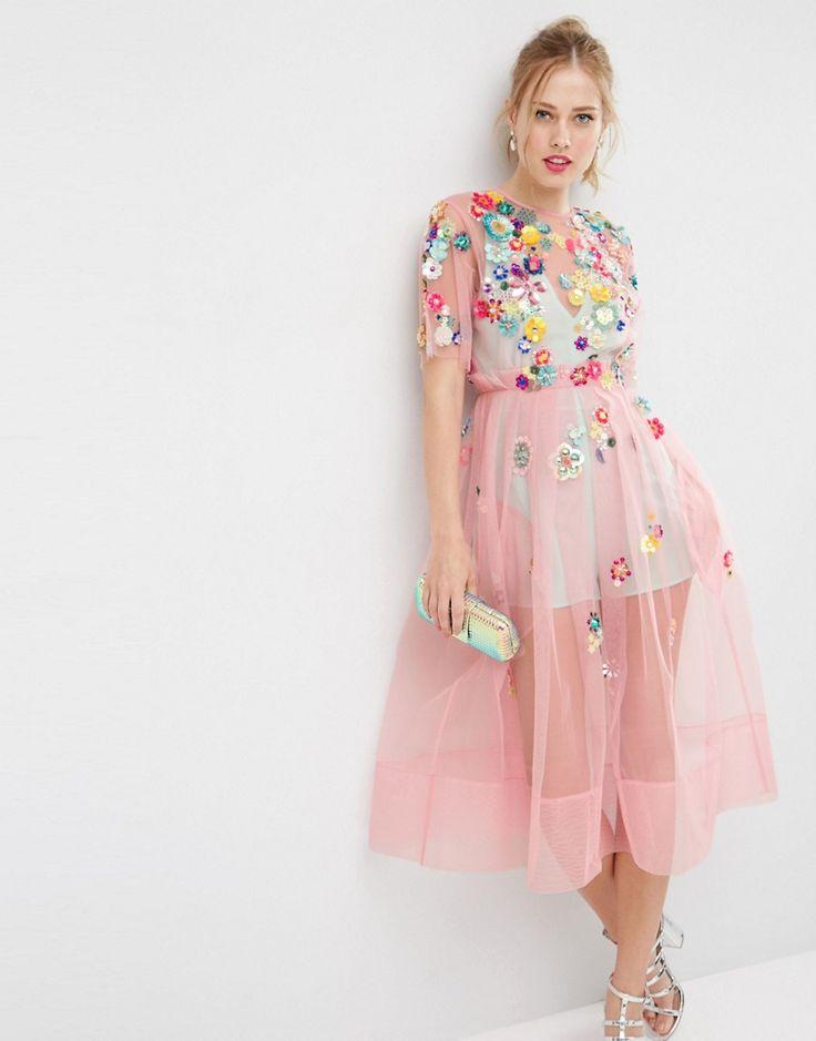 Imagen 1 de Vestido a media pierna con adornos y flores 3D de ASOS SALON
