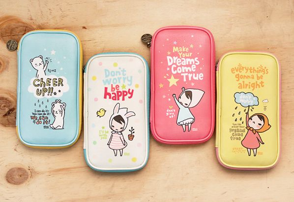 Pony Brown Pen Pouch - Such cute pencil cases! I love the wording, and what's on the other side <3