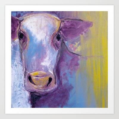 Purple Cow Art Print by Jen Posford - $18.00