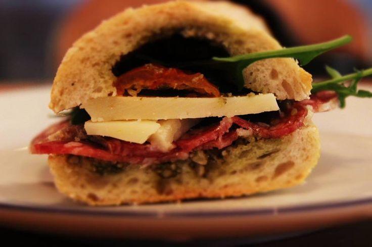Italian sandwich with salami, pecorino, sundried tomatoes and green pesto: #Peck47 - Urban Hypsteria